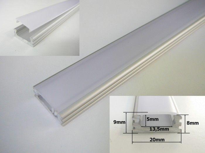AL-hliníková lišta-profil N2 klik stříbrný 20x8mm pro LED pásek + kryt plexi k montáži přisazením délka 1m
