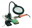 Lupa stolní kulatá + třetí ruka, osvětlení 16 x LED, držák, stojan