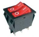 Přepínač kolébkový 2x(2pol./3pin) ON-OFF 250V/15A prosvětlený červený