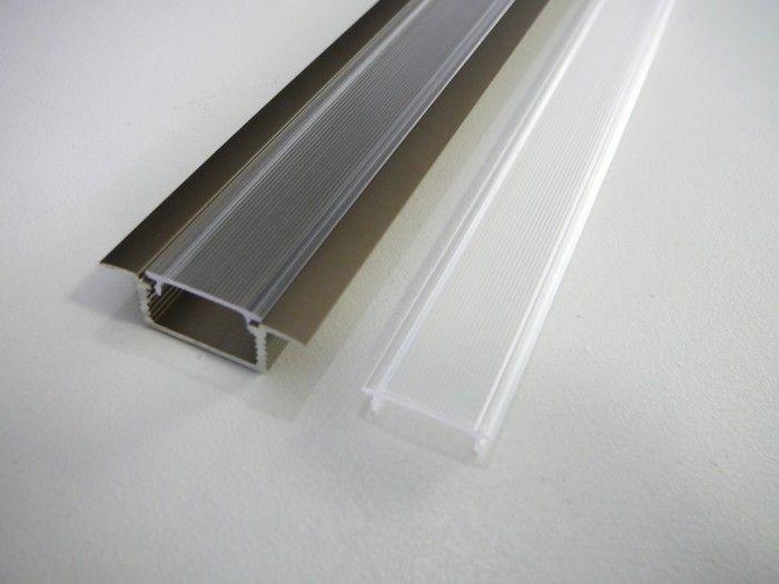 AL lišta-profil k zapuštění pro LED pásek ve tvaru T vestavný barva bronzová 28x8x15mm 1m nebo 2m + kryt plexi nacvaknutí