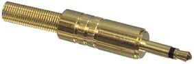 Konektor Jack 3.5 mono kov zlatý II, samec na kabel