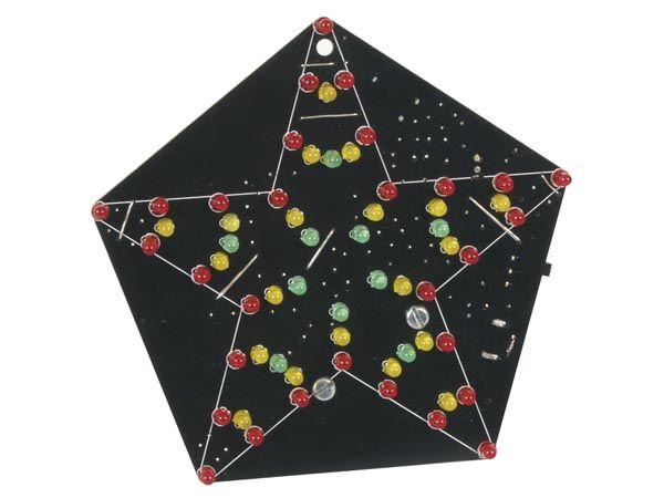Stavebnice blikající hvězda s 60 LED diodami,reagující na zvuk, napájení 9-12Vss/200mA