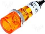 Kontrolka 230V AC s doutnavkou @12mm oranžová