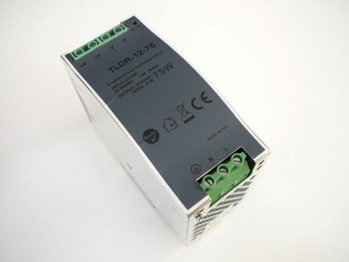 Napájecí spínaný zdroj-trafo pro LED pásky 12V DC/6,25A/75W na DIN lištu