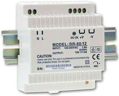 Napájecí spínaný zdroj-trafo pro LED pásky 12V DC/5A/60W na DIN lištu