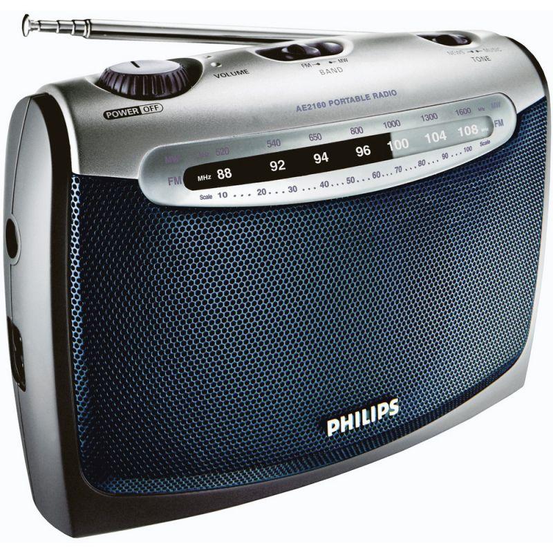 Radiopřijímač Philips AE 2160, Pásma tuneru VKV, DV, SV, na 230V AC i na baterie LR20