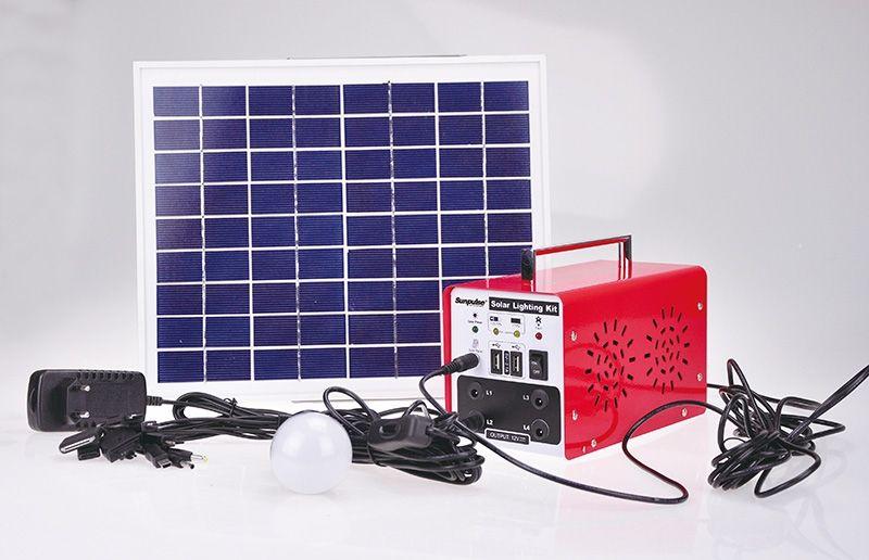 Systém set solárního osvětlení vč. solární panel 10W, 7Ah baterie, 1x Led 3W, 5m kabel+příslušenství
