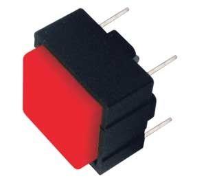 Tlačítko spínací přepínač čtv. OFF-(ON) 12V/plošný spoj červené do desky plošného spoje bez aretace 12,4x12,4mm