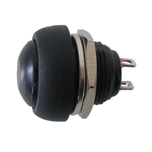 Tlačítkový spínač přepínač tlačítko kul. OFF-(ON) bez aretace střed černý