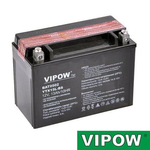 Baterie motocyklová 12V 13Ah Vipow motobaterie nabíjecí bezůdržbový akumulátor