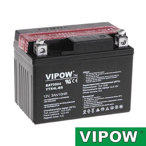 Baterie motocyklová 12V 3Ah Vipow motobaterie nabíjecí bezůdržbový akumulátor