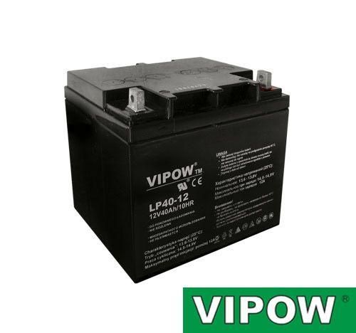 Baterie olověná gelová 12V/40Ah VIPOW nabíjecí bezůdržbový akumulátor
