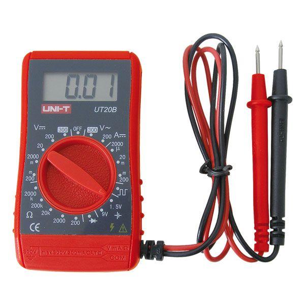 Digitální multimetr UT20B • Nejlevnější kvalitní multimetr na trhu! • DC/AC napětí, DC proud, odpor • Tester baterií 1,5V a 9V • Generátor obdélníkového signálu 50Hz! •Test diod • Opravdu kapesní přís