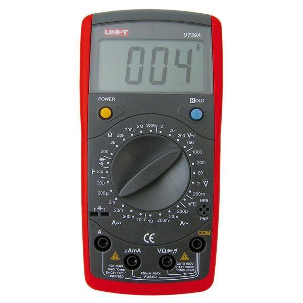 Digitální multimetr UT39A měří AC i DC napětí i proud 1000V 10A, kapacita