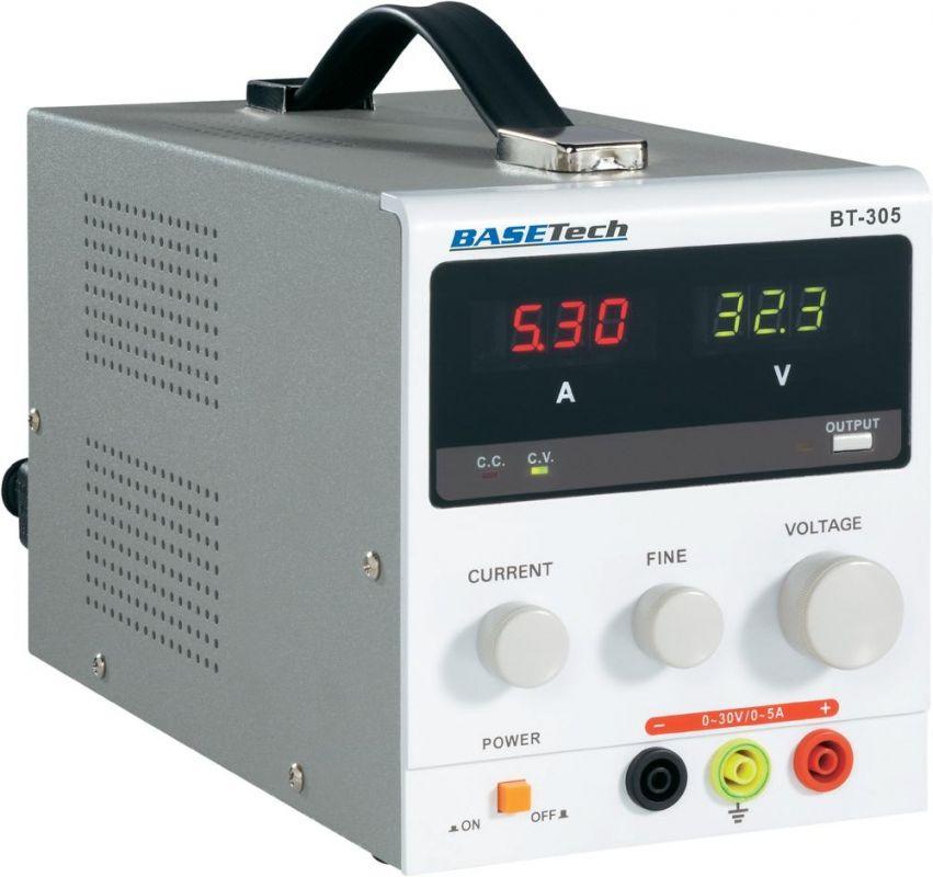 Laboratorní síťový zdroj Basetech BT-305, 0 - 30 V/DC, 0 - 5 A plynule regulovatelný 0-30Vss, 0-5A (1x)