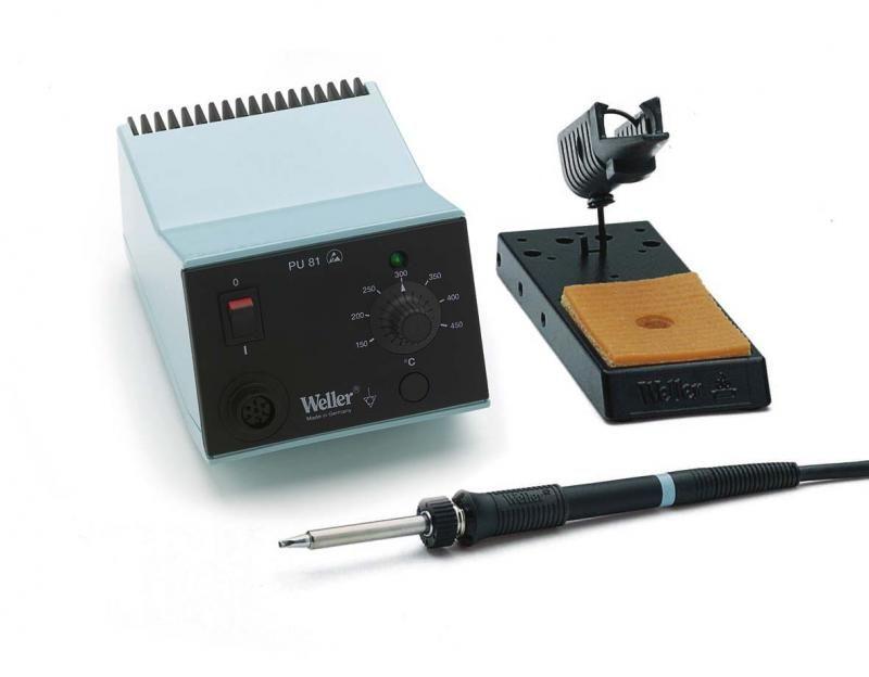 Mikropájka WS81 WELLER výkon 80W, profesionální stolní pájecí stanice s analogovou regulací teploty potenciometrem rozsah nastavení 150 ... 450°C, profi provedení