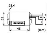 Pohybové čidlo senzor infra detektor PIR 12V NANO 360° modul, dosah až 6m, doba svícení 5s až 8 minut.