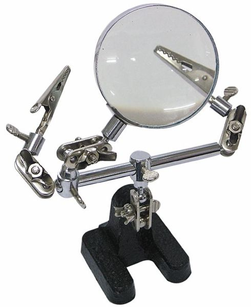 Stojan s lupou, třetí ruka, 2 krokosvorky pro uchycení při pájení, kovové provedení