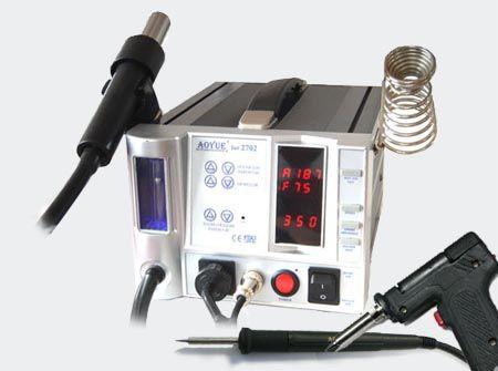 Pájecí stanice páječka horkovzušná KOMBI 2702A+ AOYUE Mikroprocesorem řízená kombinace pro bezolovnaté pájení s odsáváním par a odsávací pistole, teplotní rozsah 250 až 480°C, antistatické provedení,