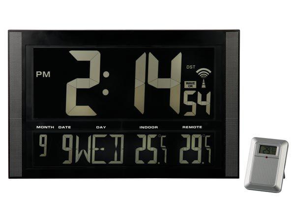 Hodiny nástěnné VELKÉ LCD digitalní s teploměrem, řízené DCF rádiovým signálem, negativní zobrazení údajů, místní a venkovní indikace teploty, kalendář