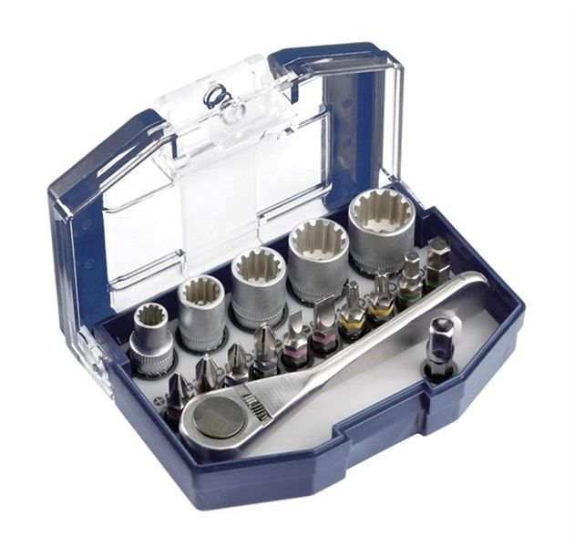 Klíče / bit set SADA KWB, 17- dílný set 5 hlavic (6,8,10,12,13 mm)  - 10 bitů 25 mm (plochý, torx, phillips, imbus) - adaptér - ráčna z nerezová oceli