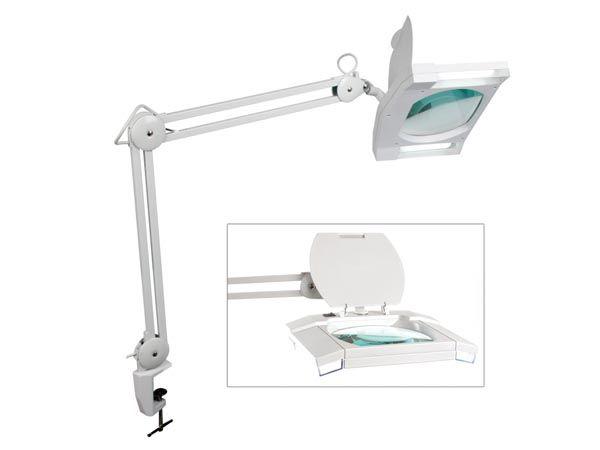 Lupa stolní hranatá 3 dioptr 2x zářivka 9W, se skleněnou čočkou, uchycení svorkou