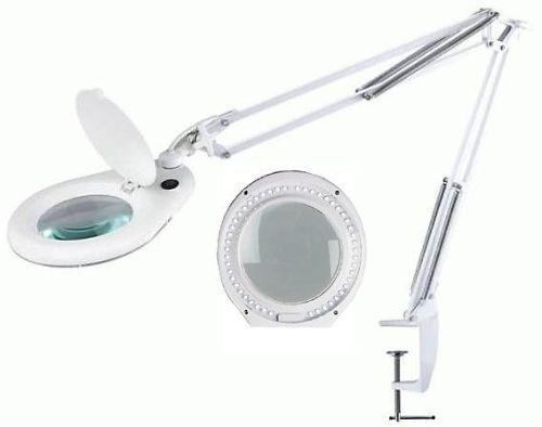 Lupa stolní kulatá 5 dioptr LED 7W, se skleněnou čočkou, uchycení svorkou