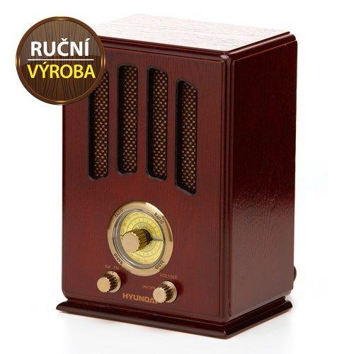 Retro stolní radiopřijímač Hyundai RA-104 třešeň, příjem AM/FM, napájení 230V AC