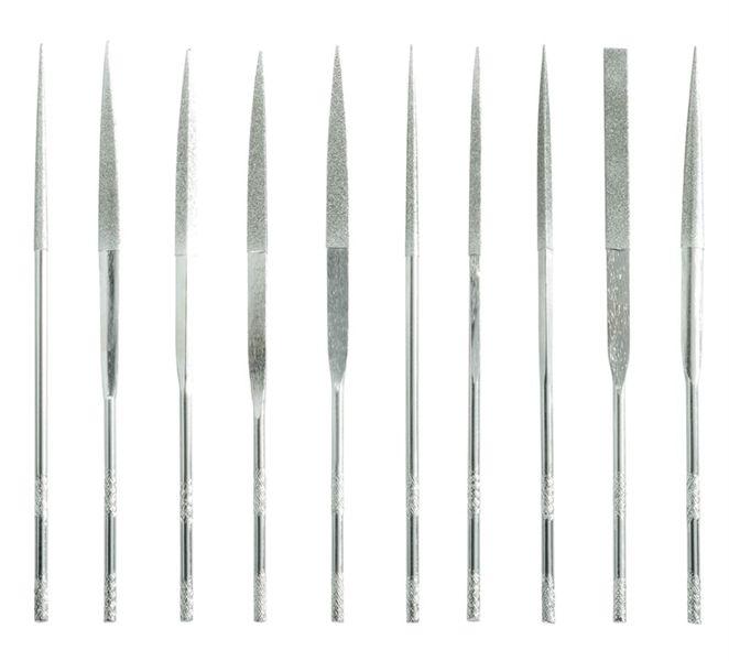 Sada 10 kusů diamantových pilníků, pilníky jehlové, 140 x 50mm, plastová rukojeť