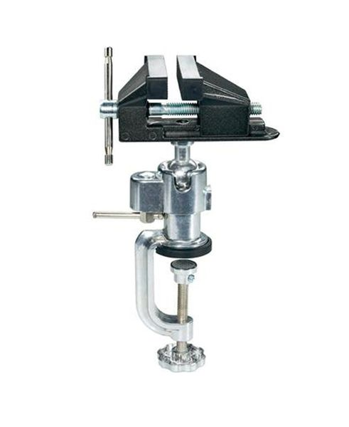 Svěrák kovový s kulovým kloubem, 73 mm, polohovatelný, stabilní provedení se silnou svorkou na stůl, ochranná vrstva z gumy