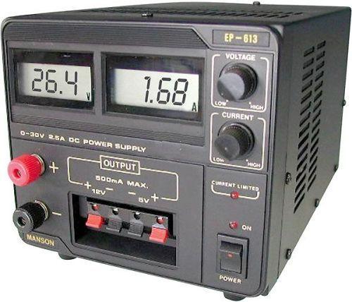 Zdroj laboratorní stolní EP-613 0-30V/0-2,5A (1x), 5V+12V/0,5A LCD displej, regulovatelný Manson