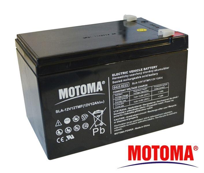 Baterie olověná Trakční 12V/12Ah - MOTOMA nabíjecí bezůdržbový trakční akumulátor, do solárních a větrných energetických systémů