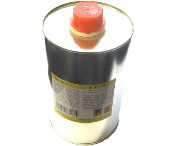 Izopropylalkohol v plechovce - čisticí přípravek kapalina, líh, pro čištění desek plošných spojů, elektromechanických součástí, apod., objem 1litr
