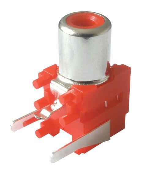 Konektor CINCH zásuvka zdířka do plošného spoje panelu 90st. lomená červená