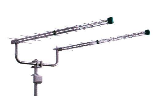 Anténa televizní kvalitní set 2160KIT dvojitá logaritmicko-periodická Emme Esse LTE Free UHF pro příjem DBV-T signálu, výkonná, dvě antény, slučovač a držák páru antén