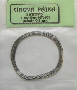 Cín PÁJKA Sn63Pb37 průměr 0.6mm, délka 1m pro SMD - měkká pájka s tavidlem-trubičkový, tenký, malé balení sáček