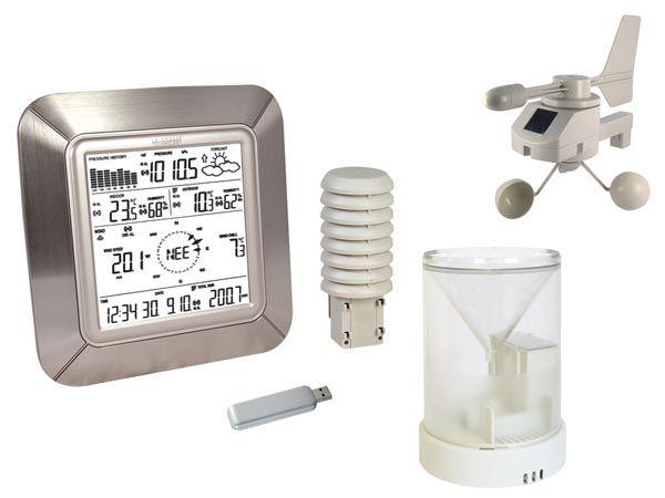 PROFI Meteorologická stanice SOLÁRNÍ + USB WS281, bezdrátový teploměr,Měří a ukládá min./max. vnitřní a venkovní teplotu, vnitřní a venkovní vlhkost, barometrický tlak, rosný bod, rychlost a směr větr