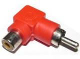 Redukce CINCH konektor/CINCH zdířka úhlová 90° červená