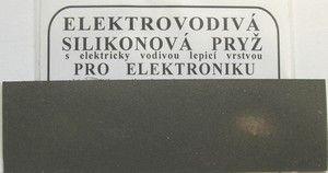 Silikonová elektrovodivá pryž guma, pro opravu spojů, obvodů - vodivá s elektrovodivou lepící vrstvou, obsahující Ni-grafit, 30 x 100 x 0.5mm, -50 ... + 150°C