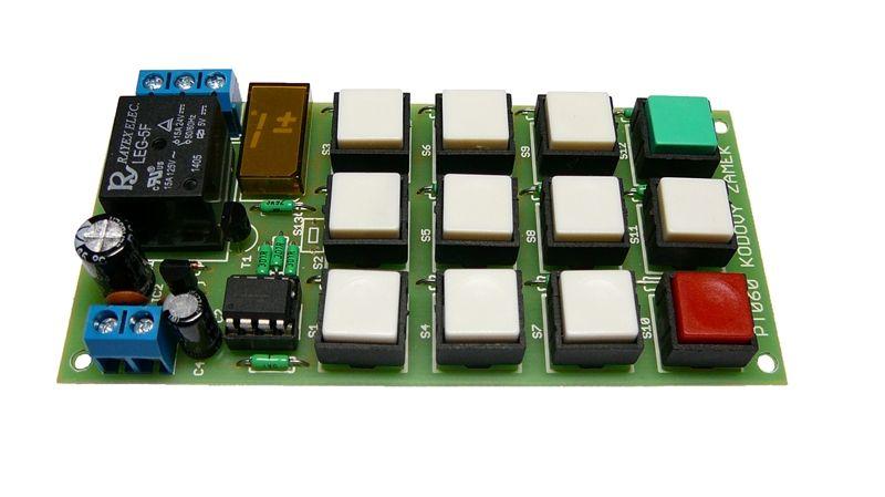 Stavebnice kódový zámek 0 - sepnutí relé po zadání kódu, napájejí 8 - 12V