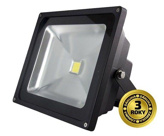 LED venkovní reflektor, 50W, 3500lm, AC 230V, černá, studená bílá 6000K, AC 230V, IP65