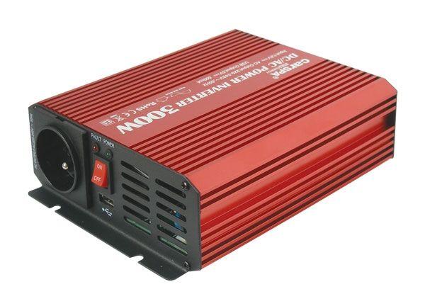 Měnič napětí DC/AC 12V/230V AC, 300W, čistá sinusovka, k napájení notebooku, PC apod.