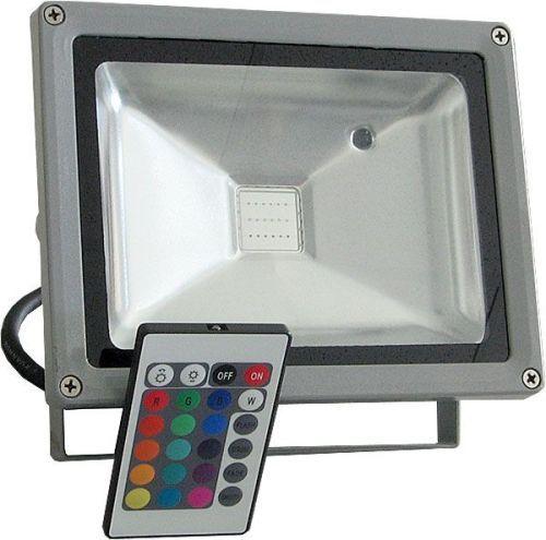 Reflektor LED venkovní 20W RGB plně barevný, MCOB, AC 230V, šedý IP65