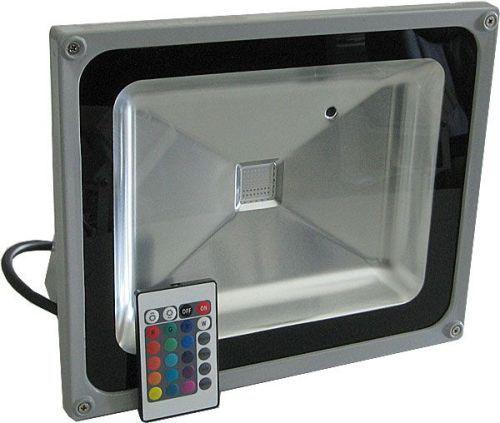 Reflektor LED venkovní 50W RGB plně beravný, dálkové ovládání, MCOB, AC 230V, šedý IP65