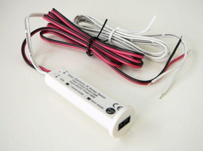 Bezdotykový infra spínač, ovladač skříňový difuzní 2V1, sepne po odstranění překážky, na napětí 9,5-30VDC / 2A pro LED produkty, 12V i 24V, detekce překážky
