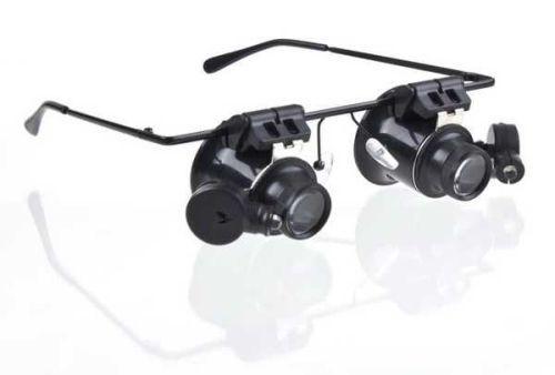 Binokulární lupa, zvětšovací brýle mikroskop 20x s osvětlením LED, na hlavu, včetně baterií