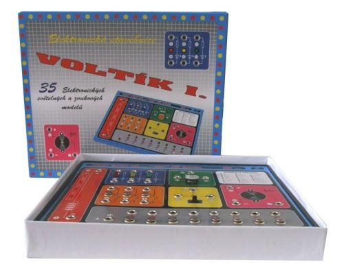 Elektronická stavebnice VOLTÍK I. naučná pro děti, začátečníky, bliká, svítí, houká, zvuky