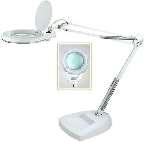 Lupa stolní kulatá 5 dioptr, LAMPA osvětlení zářivka T4 22W, se skleněnou čočkou, podstavec na stůl, plochu