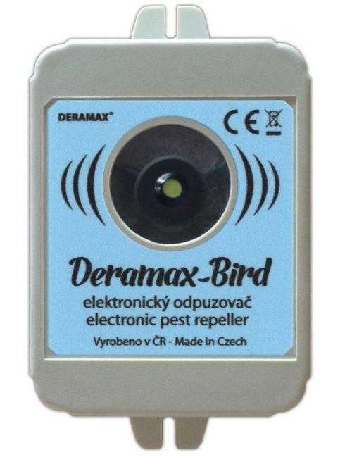 Odpuzovač ptáků - elektronický plašič ultrazvukový DERAMAX-BIRD, síťový zdroj 230V/12VDC 0,1A, proti holubům, špačkům, kosům, vrabcům atd.