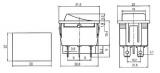 Přepínač vypinač kolébkový ON-OFF-ON 250V/15A , 6pinů na fastony